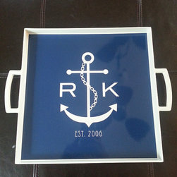 Monogram Melamine Square Serving Tray, Nautical by Lovey Dovey Creations - I would love to have this monogrammed nautical-themed serving tray at my beach house. I love the mix of the initials with the anchor.