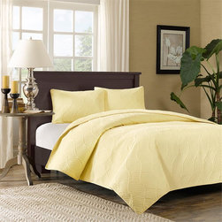 Madison Park - Madison Park Cira 3 Piece Coverlet Set - Cira's simple design is a casual update to your bedroom. The coverelet features a yellow soft microfiber polyester fabric is the quilted with a subtle ogee geometric pattern against a diamond shaped pattern to provide texture and dimension. The coverlet is filled with a polyester fill. The set includes two matching shams. This coverlet is soft to the touch and machine washable for easy care. Coverlet & sham face: 100% poly microfiber with all over quilting, back: plushed mciro fiber solid; Filling: 3.5 oz/yd2 polyfill.