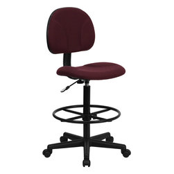 Flash Furniture - Flash Furniture Burgundy Fabric Ergonomic Drafting Stool - Drafting Stools can be used in a multitude of environments including School, Work and for the Home. Not only is this chair great for drafting and regular office assignments it is also useful for people with disabilities who need a higher chair. Drafting stools make it easier for the user when they need or prefer more height to comfortably get in and out of chairs. This chair will satisfy your needs at an affordable price that can't compare!