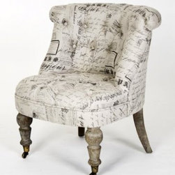 Amelie French Country Gray Script Tufted Slipper Chair - French words distressed into this fabric make this chair so chic and romantic. Be inspired by the romance of the French.