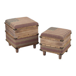 Sterling Industries - National Wooden Storage Ottomans , Set of 2 - National-Set of 2 Wooden Storage Ottomans