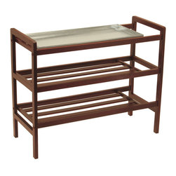 Winsome Wood - Winsome Wood Mudroom Shoe Rack w/ Tray & Shelf - Shoe Rack. With Removable Sink tray, this unique product is nice to have it especially in wet weather. Warm Walnut finish Shoe Rack (1)