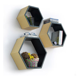 Blancho Bedding - Chrome Yellow Stripe Hexagon Leather Wall Shelf / Floating Shelf  Set of 3 - These beautifully Hexagonal Shaped Wall Shelves display the art of woodworking and add a refreshing element to your home. Versatile in design, these leather wall shelves come in various colors and patterns. These elegant pieces of wall decor can be used for various purposes. It is ideal for displaying keepsakes, books, CDs, photo frames and so much more. Install as shown or you may separate the shelves to create a layout that suits your taste and your style. They spice up your home's decor, and create a multifunctional storage unit for all around your home. Each box serves as a practical shelf, as well as a great wall decoration.
