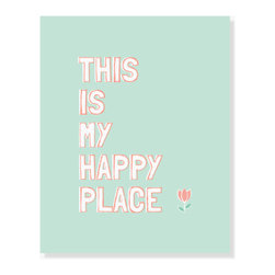 ColorBee Creative Design - This Is My Happy Place , 5x7 Inches - A happy quote art print in happy colors. Quote art makes your house feel like a home. Display it in your favorite space.