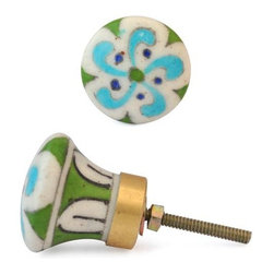 """Knobco - Floral Design Knob, Turquoise Flower And Blue Dots With White - Turquoise Flower and Blue dots with white base knob-06 from Jaipur, India. Unique, hand painted cabinet knobs for your kitchen      cabinets. 1.5"""" in diameter. Includes screws for installation."""