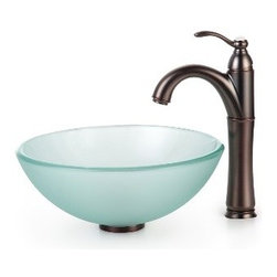 Kraus - Kraus Frosted 14 inch Glass Vessel Sink and Riviera Faucet Oil Rubbed Bronze - *Add a touch of elegance to your bathroom with a glass sink combo from Kraus