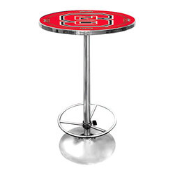 Trademark Global - Round Pub Table w North Carolina State Logo T - Every die-hard NC State Wolfpack fan will want to own this fabulous pub table.  Sleek and modern, it features a highly polished chrome plated rim and pedestal base with an adjustable footrest for comfort.  The entire top is covered with official NCAA school graphics and logo in the regulation team colors, and topped with a crystal clear coat of acrylic for ultimate protection.  What a fantastic way to show your team spirit. Great for gifts and recreation decor. 0.125 in. Scratch resistant UV protective acrylic top. Full color NCAA printed logo is protected by the acrylic top. Table top is trimmed with chrome plated banding. 1 in. Thick solid wood table top. Chrome base with foot rest and adjustable levelers. 28 in. L x 28 in. W x 42 in. H (72 lbs.)This officially licensed NCAA Pub Table is the perfect addition for your game room and adds to the atmosphere on college game nights.