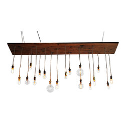 Urban Chandy - Eclectic Barnwood Chandy with natural color cord and brass/bronze sockets - Reclaimed barn wood from Maine sanded and finished with linseed oil with 18 pendants, natural twist cord and mixed hardware in raw brass, antique brass, and bronze. Can be suspended down from the ceiling with wire or chain or mounted flush. Ready to ship in 3-5 days. Not UL rated. Incandescent bulbs included. Cord with plug can be attached upon request.