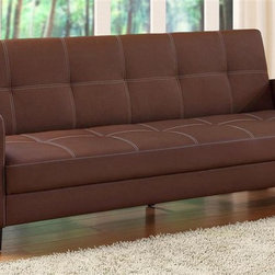 Dorel Home Products - Delaney 78 in. Sofa Sleeper w Arms - Click clack technology. Sophisticated design. Beautiful contrast stitching. Easy to maintain. Rich faux leather upholstery. Converts quickly from sofa to full size bed. Warranty: One year. Weight capacity: 600 lbs.. Sofa: 78 in. L x 34 in. W x 31 in. H (88 lbs.). Bed: 78 in. L x 43 in. W x 14.5 in. H. Assembly Instructions