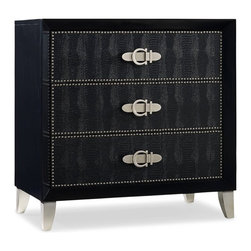 Hooker Furniture - Melange Croc Chest - Ebony - White glove, in-home delivery included!  Like a stylish fashion accessory, the Croc Chest is tailored and sleek.  In either Pompeii Red or Ebony the Croc Chest in rich leather with belt buckle hardware is dressed for success.  Three drawers with wallpapered interior.