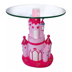 Pretty Pink Princess Castle End Table with Glass Top - Add a charming accent to your little princess`s sleeping chambers with this pretty pink castle end table. The base is made of cold cast resin and measures 22 inches tall, 13 1/2 inches wide, and 10 1/2 inches deep. It is hand painted with pastel and hot pink paints, and accented with glitter for just the right amount of sparkle. The glass top is 19 inches in diameter, approximately 1/4 inch thick, and screws securely to the base.