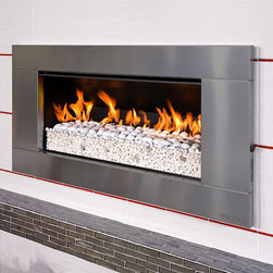 ESCEA - ESCEA Outdoor Gas Stainless Steel Fireplace - Ferro Front, W/Fuel Bed, W/ Kitset - This stunning looking outdoor gas fireplace with a stainless steel Ferro fascia is constructed for immediate huge heat output at the push of a button. The most modern gas fireplace in North America is made from 100% marine grade stainless steel suitable for all outdoor conditions. Entertaining all night or just relaxing after a day at work, the luxurious EF5000 outdoor gas fireplace is ideal for any occasion.