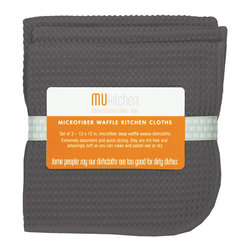 MU Kitchen Cadet Gray Waffle Microfiber Dishcloth Set - The beautiful MU kitchen waffle microfiber dishcloth 3 piece set  is made from a revolutionary microfiber  a specially designed cloth that is woven in a unique pattern from polyester fibers that create tiny scoops that suck up dirt and attract micro-particles. Microfiber is softer than silk and stronger than cotton. The cloth is so well crafted  it renders harsh cleaning chemicals entirely unnecessary.  Product Features      Set of 3 - 12 x 12 in. dish towels   Waffle microfiber construction   Lint and streak free cleans and polishes like no other wet or dry   Super absorbent - holds 7 times its weight in liquid   Quick drying - 10 times faster drying time   Reduces bacteria growth with quick drying time   Finished with a hanging loop for convenience