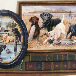York Wallcoverings - Hunting Dogs Wallpaper Border - Wallpaper borders bring color, character and detail to a room with exciting new look for your walls - easier and quicker then ever.