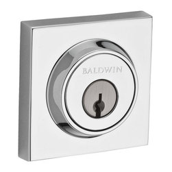Baldwin Hardware - Reserve Contemporary Single Cylinder Square Deadbolt in Polished Chrome - Baldwin Reserve combines the tradition of original craftsmanship with advanced technology to provide locks that stand the test of time. Reserve is ideal for designers and homeowners craving a personalized blend of styles.