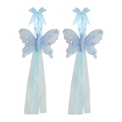 "Bugs-n-Blooms - Butterfly Tie Backs Blue Jewel Nylon Butterflies Tieback Pair Set Decorations - Window Curtains Holder Holders Tie Backs to Decorate for a Baby Nursery Bedroom, Girls Room Wall Decor - 5""W x 4""H Jewel Curtain Tieback Set Butterfly 2pc Pair - Beautiful window curtains tie backs for kids room decor, baby decoration, childrens decorations. Ideal for Baby Nursery Kids Bedroom Girls Room.  This gorgeous butterfly tieback set is embellished with sequins and glitter.  This pretty butterfly decoration is made with a soft bendable wire frame & have color match trails of organza ribbons.  Has 2 adjustable wires to wrap around the curtains; or simply remove & add your own ribbon for a personal & custom look.  Visit our store for more great items. Additional styles are available in various colors, please see store for details. Please visit our store on 'How To Hang' for tips and suggestions. Please note: Sizes are approximate and are handmade and variances may occur. Price is for one pair (2 piece)"