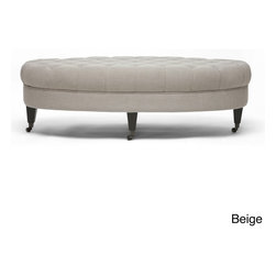 Baxton Studio - Baxton Studio Brighton Linen Modern Tufted Ottoman - Add an extra seating option to your living room with this modern tufted ottoman, which is available in two colors. Covered in linen, it features a sturdy wood frame, foam padding, and castors that make the bench easier to move from place to place.