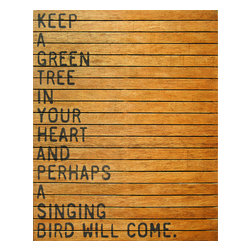 Kathy Kuo Home - 'Keep A Green Tree' Slatted Wood Distressed Wall Art - This wall hanging is earth-friendly in more ways than one. It's made of distressed and reclaimed wood so no two are exactly alike. And the quote helps you bring a little of the outside into your room — and your heart.