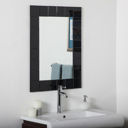 Decor Wonderland Mirrors - Decor Wonderland Montreal Modern Bathroom Mirror - The Montreal modern wall mirror was inspired by European contemporary design. This bold and beautiful mirror is a center piece that commands attention in any room. Perfect for living rooms  the main entrance or bathrooms. The Montral wall mirror is hand crafted from 24  black beveled mirrors  with each square featuring beveled border  truly one of a kind in the world of home accessories and design. The unique black mirrors on the border are cut and beveled by hand so they may not be perfectly symmetrical.
