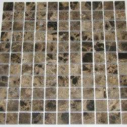 Dark Emperador Polished Pattern Mesh-Mounted Marble Tiles - 1 in. x 1 in. Dark Emperador Mesh-Mounted Square Pattern Marble Mosaic Tile is a great way to enhance your decor with a traditional aesthetic touch. This polished mosaic tile is constructed from durable, impervious marble material, comes in a smooth, unglazed finish and is suitable for installation on floors, walls and countertops in commercial and residential spaces such as bathrooms and kitchens.