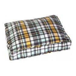 Molly Mutt - Northwestern Girls Duvet, Grey, Yellow, Mint & White, Small - Like a warm plaid shirt on a rainy day, this pattern will help to create the perfect comfy spot for your pooch. Inspired by the styles of the Pacific Northwest.