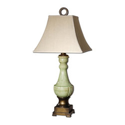 Uttermost - Classic Single Light Urn Shaped Ceramic Table LampCeralto Collection - Crackled ceramic finished in an antiqued mossy green glaze with golden bronze metal details.
