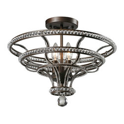 Country Crystal and Iron Art Chandelier in Baking Finish - Country Crystal and Iron Art Chandelier in Baking Finish