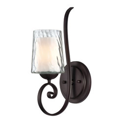 Quoizel - Quoizel ADS8701DC Adonis Transitional Wall Sconce - Clear, water glass surrounding another opal etched glass and a soft, clean relaxed country design makes this distinctive double glass treatment a unique collection.  A warm dark copper toned bronze finish with oval metal tubing ends with flowing scrolled arms.  The classic styling and overall look of this collection will make your home feel warm and inviting.