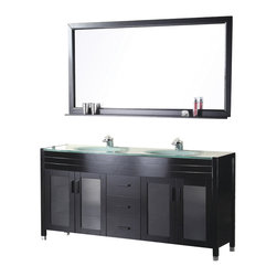 """Design Element - Design Element Waterfall 60"""" Espresso Modern Double Drop-in Sink Vanity Set - The 61"""" Waterfall Vanity is elegantly constructed of solid hardwood. The integrated tempered glass counter top and sleek design bring contemporary elegance to any bathroom. The seamless oval drop in sink beautifully showcase the natural aqua counter top. This stylish design includes two double door cabinets and three center drawers all adorned with satin nickel hardware. Included is a large espresso framed mirror with shelf. The Waterfall Collection is a center piece designed to inspire the eye without sacrificing functionality, durability or quality."""