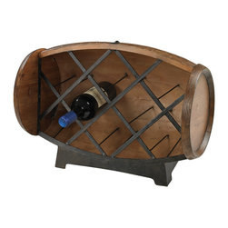 Sterling Industries - Half Barrel Wine Rack - Half Barrel Wine Rack Wine Rack in Stained Wood Tone with Iron Accents by Sterling Industries
