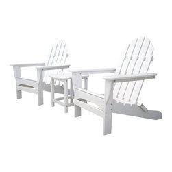 Polywood - South Beach Table with 2 Adirondack Armchairs - This classic design is associated with outdoor furniture all around the world. We have taken this design a step further by creating our furniture to be easy maintenance and functional for many years.