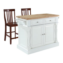 Crosley Furniture - Butcher Block Top Kitchen Island with Black S - Includes two stools. Fully functional doors and drawers on both sides. Butcher block top. Two towel bars. Brushed nickel hardware. Carved column accents. Two adjustable shelves behind doors. Warranty: 90 days. Made from solid hardwood and wood veneers. White finish. Made in Vietnam. Stool height: 24 in.. Overall: 48.25 in. W x 23 in. D x 36 in. H (168 lbs.). Assembly instructions - Kitchen Island. Assembly instructions - StoolThis kitchen island is designed for longevity. The handsome raised panel doors and drawer fronts provide the ultimate in style to dress up any culinary space. Great for food preparation. Deep push-through drawers are great for holding essential items, such as utensils or storage containers. Style, function, and quality make this kitchen island a wise addition to your home.