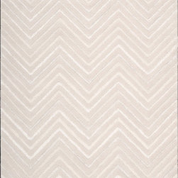 "Nourison - Modelo Contemporary Blanc Chevron 7'6"" x 9'6"" Joseph Abboud Rug By RugLots - These rugs are multi-dimensional and reflective of mixed media creations. Cut and loop piles in varying heights are combined to create engaging modern designs. Hand tufted with wool and synthetic fiber. Perfect for a variety of interiors and certain to be a conversation starter."
