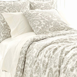 Pine Cone Hill Imperial Damask Platinum Duvet Cover - All-gray bedding may seem dull to some, but I don't agree. This set is a nice mix of subtle color with a bold pattern — not dull at all!