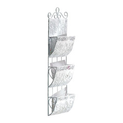 """KOOLEKOO - Classic White Letter Organizer - Organization never looked so good! Distressed white metal tiles and swirls come together to form three generous sorting pockets for correspondence. 2.5"""" deep pockets."""