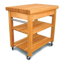 """Catskill Craftsmen - French Country Kitchen Cart with Butcher Block Top - This kitchen cart features classic design with a concise size. The Compact French Country Kitchen Cart has all of the same features as its larger counterpart, but in a scaled-down version. With a butcher block top, a large capacity drawer, slatted shelves, and convenient towel bars on either side; this efficient workcenter is perfect for kitchens where space is tight. Features: -French Country collection. -Constructed from North American hardwood in the Catskill Mountains. -2.5"""" Butcher block top. -Natural wood finish. -Large drawer with full extension guides. -Two slatted shelves. -Stainless steel towel bars on both sides. -Four 3"""" casters (2 locking). -Overall dimensions: 36"""" H x 30"""" W x 20"""" D."""