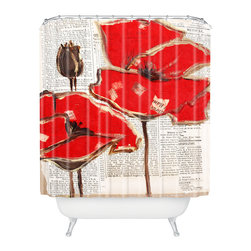 DENY Designs - Irena Orlov Red Perfection Shower Curtain - Who says bathrooms can't be fun? To get the most bang for your buck, start with an artistic, inventive shower curtain. We've got endless options that will really make your bathroom pop. Heck, your guests may start spending a little extra time in there because of it!