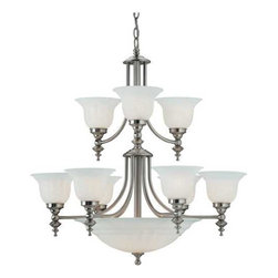 Dolan Designs Lighting - Twelve-Light Chandelier - 664-09 - This chandelier features alabaster glass shades, which create diffused light perfect for an entryway, great room or dining area. Gently curved arms hold two tiers of lights and a large center bowl. The base of each shade mimics the design of the finial below the central light shade. Includes six feet of chain. Takes (9) 100-watt incandescent A19 bulb(s). Bulb(s) sold separately. UL listed. Dry location rated.