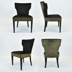 Set of 4 Art-Deco Cowhide & Leather Dining Chairs from Aero Studios, C. 1940's - Dimensions:L 20''  × W 24''  × H 32''