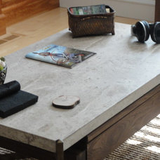 eclectic coffee tables Travertine Coffee Table with Under-mount Storage & Built in Pop Up Table (Walnut