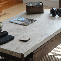 Travertine Coffee Table with Under-mount Storage & Built in Pop Up Table (Walnut -