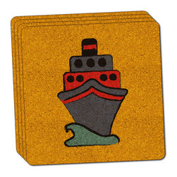 """Made on Terra - Cruise Ship Travel Ahoy Thin Cork Coaster Set of 4 - You're just cleaning up after your epic party when you realize it... something's different. Unlike all those other times, you're not mopping up cup condensation from your counters and tables. This time, everyone used a coaster. Everyone. Maybe it's because you handed out a coaster with every glass. No. You've tried that before. No, this time it's because of the actual coasters. You found the cutest Made On Terra printed cork coasters. You love that everyone commented on how unique they were,  from the light-weight, thin cork material to the printing that creates a cool and subtle effect. Plus, they're really absorbent, but dry quickly. And they're made from an eco-friendly, sustainable resource, so that makes you feel pretty great, too. Choose from Made on Terra's many fabulous cork coasters. Measures 4"""" x 4"""" x 1/8"""". Made of thin cork. Super cute and nicely absorbent. Sold in sets of four."""