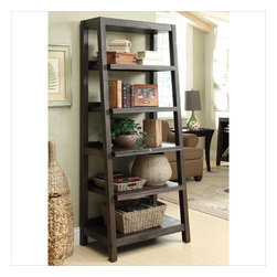 Riverside Furniture - Riverside Furniture Promenade Canted Bookcase in Warm Cocoa - Riverside Furniture - Bookcases - 84537 - Riverside's products are designed and constructed for use in the home and are generally not intended for rental commercial institutional or other applications not considered to be household usage. Riverside uses furniture construction techniques and select materials to provide quality durability and value in their products. The construction of Riversides core product line consists of a combination of cabinetmaker hardwood solids and hand-selected veneers applied over medium density fiberboard (MDF) and particle board. MDF and particle board are used in quality furniture for surfaces that require stability against the varying environmental conditions in modern homes.