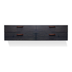 Blu Dot - Blu Dot Shale 4 Drawer Wall-Mounted Cabinet, Smoke - Layers of clean details. Solid wood and full grain leather pulls add storage panache and practicality to the bedroom, living room or dining room. Cabinet mounts to the wall, so you can pick the height that is right for your space. Door units feature adjustable shelves and wire management holes. Available in Smoke, Light Walnut and natural Walnut.Solid ash top and door/drawer fronts, Steel wall mounting cleat, Full grain leather door and drawer pulls, Plywood side, bottom and back panels, Nylon glides