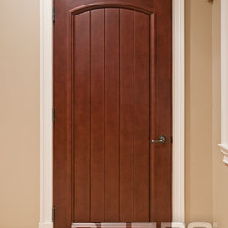 "SOLID WOOD ENTRY DOORS-DOORS FOR BUILDERS, INC - Solid Wood Interior Door SOLID WOOD: Our custom interior wood doors are crafted from wood ONLY. The most popular wood options include Mahogany, Cherry, Knotty Alder, Walnut, Ash, Oak or any other wood species of your choice. Each wood slab is 1-3/4"" thick, is pre-finished with a furniture quality wood finish, and comes with a knock down jamb, and 4"" x 4"" square corners hinges."