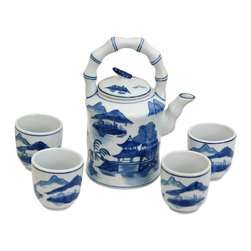 Oriental Furniture - Landscape Blue and White Porcelain Tea Set - Tea has been the drink of choice in the Far East since for thousands of years. This fine China tea set is beautifully decorated with a Ming blue and white Asian landscape pattern featuring mountain and pagoda accents. Includes pot and four cups as shown.