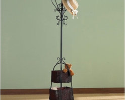 Wildon Home � - Arden Coat Rack with Rattan Storage - With an innovative design and elegant rattan construction, this Black Hall Tree provides proof that organization doesn't have to be boring. The graceful scrollwork makes this hall tree a welcome addition to your home or office. Plenty of hooks for a combination of hats, coats, jackets and scarves while the baskets provide the perfect place for umbrellas and small totes. Features: -8 hooks for hats, coats, jackets and scarves.-2 rattan storage baskets for umbrellas and totes.-Elegant rattan construction.-Black finish.-Distressed: No.Dimensions: -Small basket dimensions: 7'' H x 11'' W x 6'' D.-Large basket dimensions: 7.5'' H x 13'' W x 7.5'' D.-Overall dimensions: 72.5'' H x 18.5'' W x 18.5'' D, 20 lbs.-Overall Product Weight: 20 lbs.