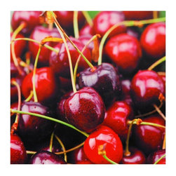 Oriental Furniture - Cherries Canvas Wall Art - Close-up of wine-colored cherries, printed on strong, art quality canvas using the latest ink jet printing technology. Focal point on a single cherry in the foreground against a backdrop of soft-focus cherries creates an illusion of depth. Colorful culinary wall art, a perfect fit for an empty wall space in the kitchen or dining room.