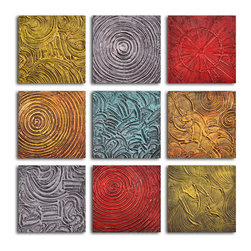 """My Art Outlet - Hand Painted """"Tile tic-tac-toe"""" 9 Piece Set Oil Painting - Size: 36"""" x 36"""" (12"""" X 12"""" X 9pc). Enjoy a 100% Hand Painted Wall Art made with oil paints on canvas stretched over a 1"""" thick wooden frame. The painting is gallery wrapped and ready to hang out of the box. A very stylish addition to any room that is sure to get the attention of guests."""