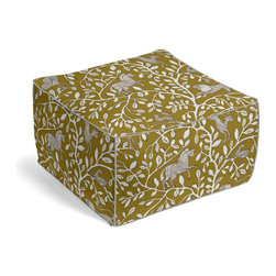 Yellow Modern Animal Motif Custom Pouf - The Square Pouf is the hottest thing in decor since the sectional sofa. This bean bag meets Moroccan style ottoman does triple duty as a comfy extra seat, fashion-forward footstool, or part-time occasional table.  We love it in this sketched african animal & vine motif in modern mustard yellow. be wild & wonderul!